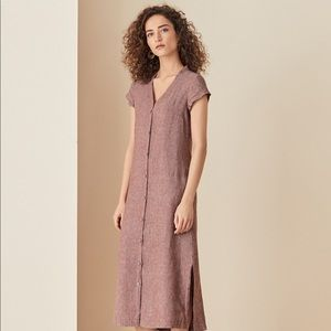 Poetry Linen Button Front Dress in Rust Red